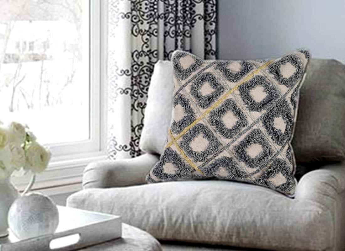Handcrafted Symmetrical Shaggy Cushion Cover