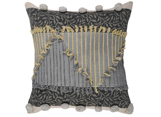 Grey Pom-Pom Border Cushion Cover