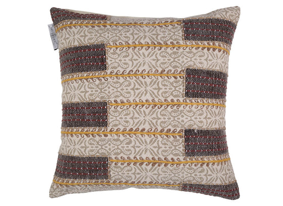 Printed Brown Embroidered Cotton Cushion Cover
