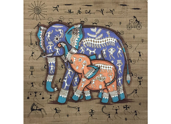 Traditional Elephant Designed Wall Art Painting