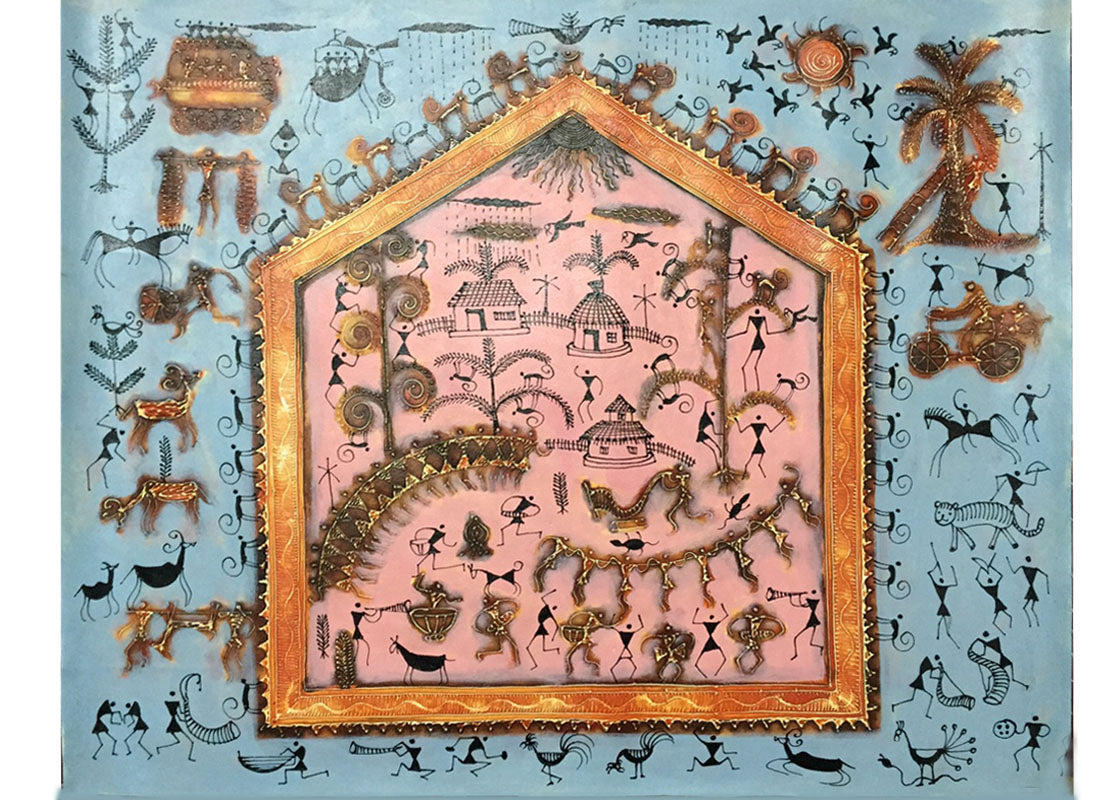 Buy canvas warli painting for wall at lowest rates on craftedindia canvas warli painting for wall thecheapjerseys Image collections