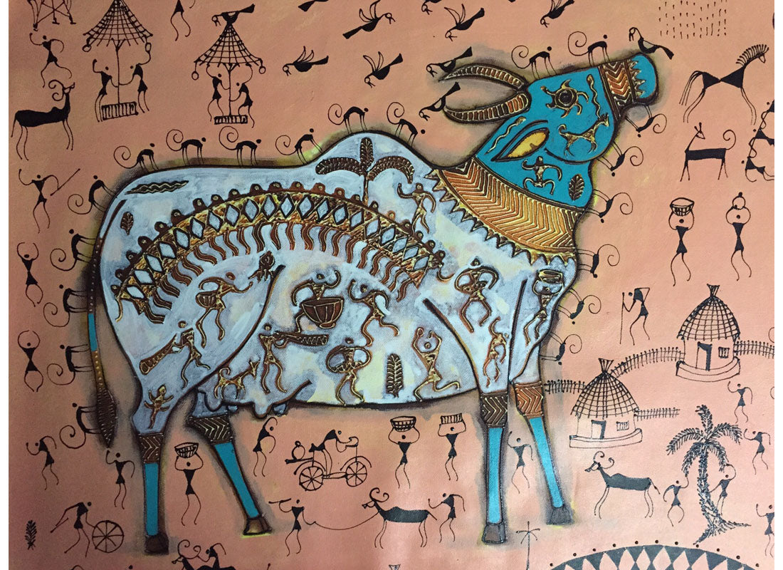 Buy indian folk art warli painting at lowest rates on craftedindia indian folk art warli painting thecheapjerseys Image collections