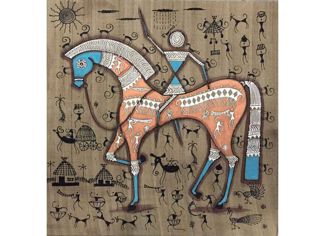 Buy canvas warli painting for wall at lowest rates on craftedindia canvas warli painting for wall altavistaventures Image collections