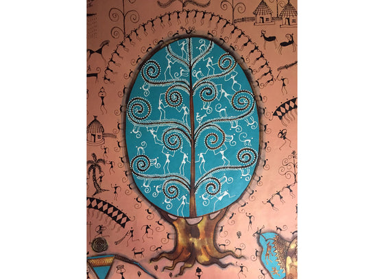 Tree of life warli painting on Canvas