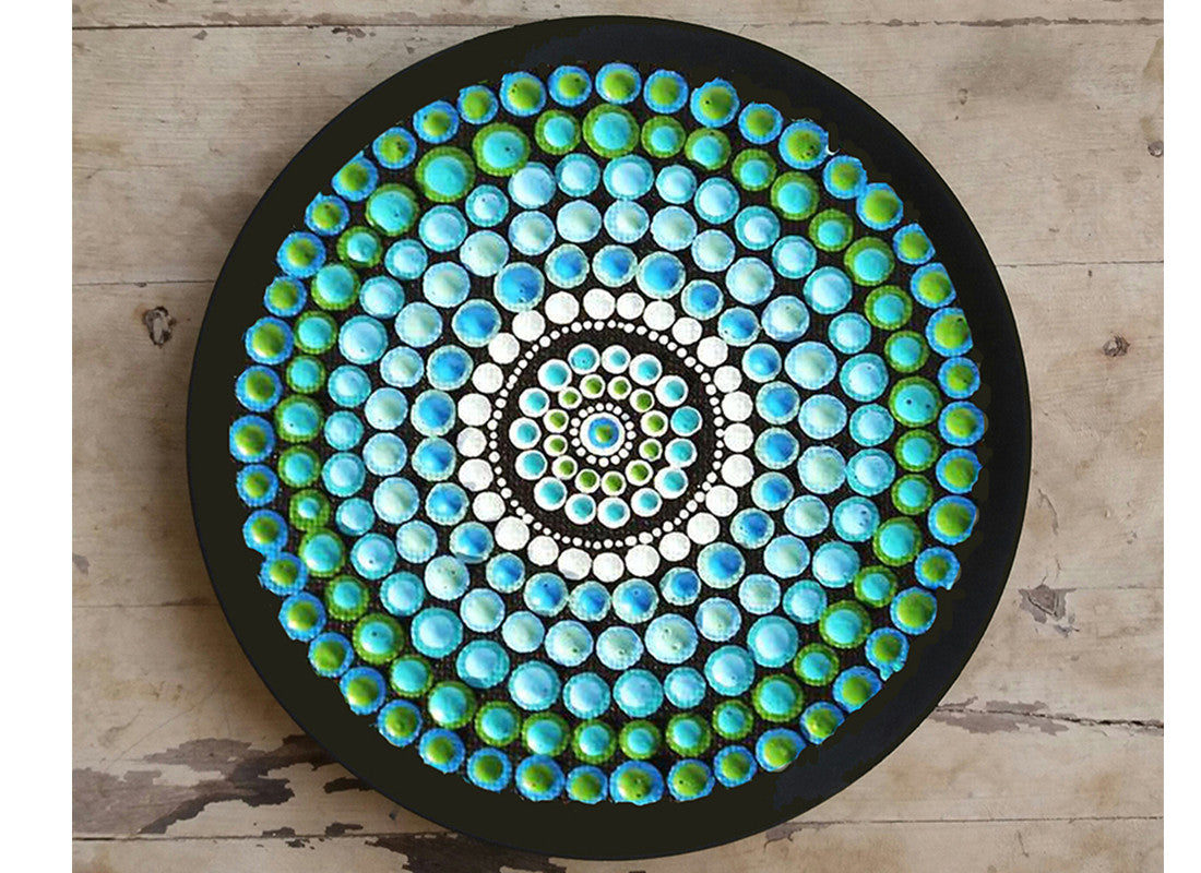 Aboriginal Art Blue Design Wall Plate
