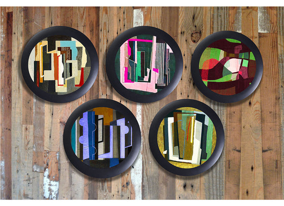 Abstract art multicolor wall decor plates