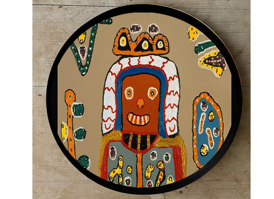 African tribal art hand-painted wall plate
