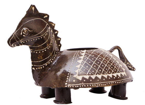 Antique Handcrafted Horse Candle Holder