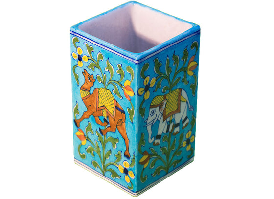Antique elephant design blue vase