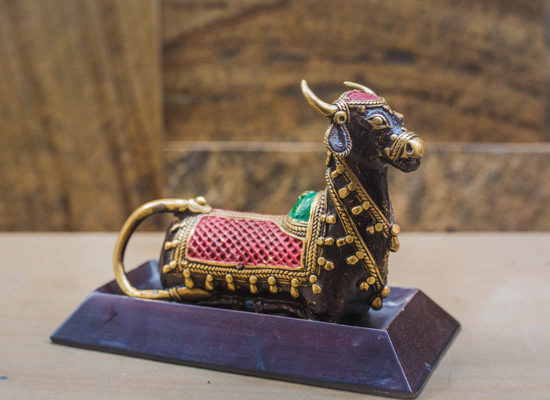 Colorful Dhokra Art Nandi Sitting