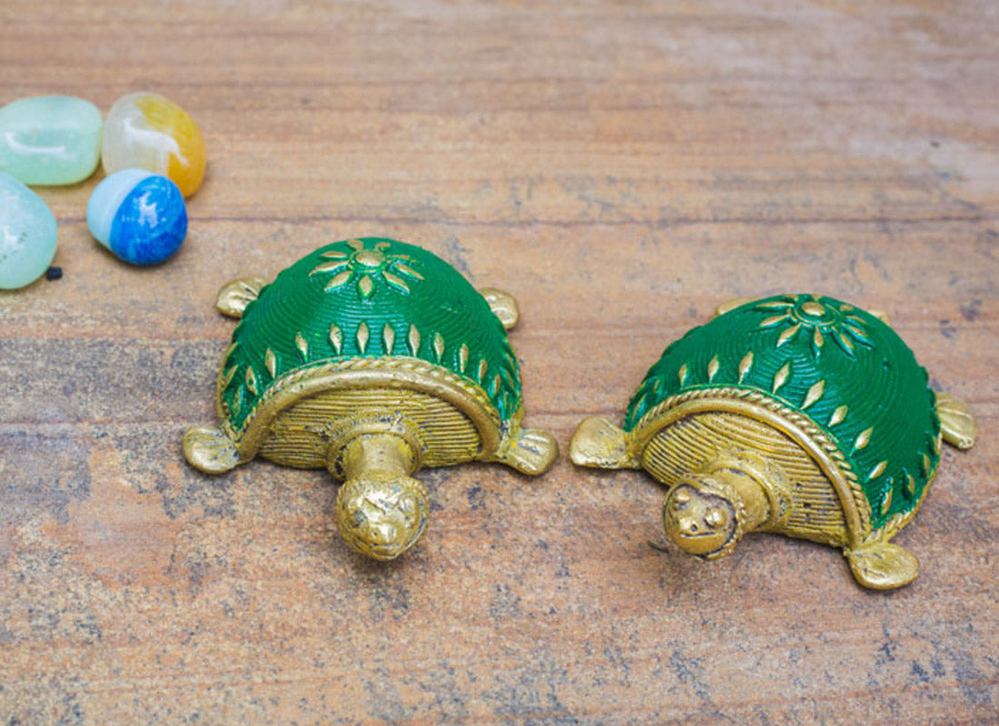 Dhokra Art Tortoise Table Top Set- Green