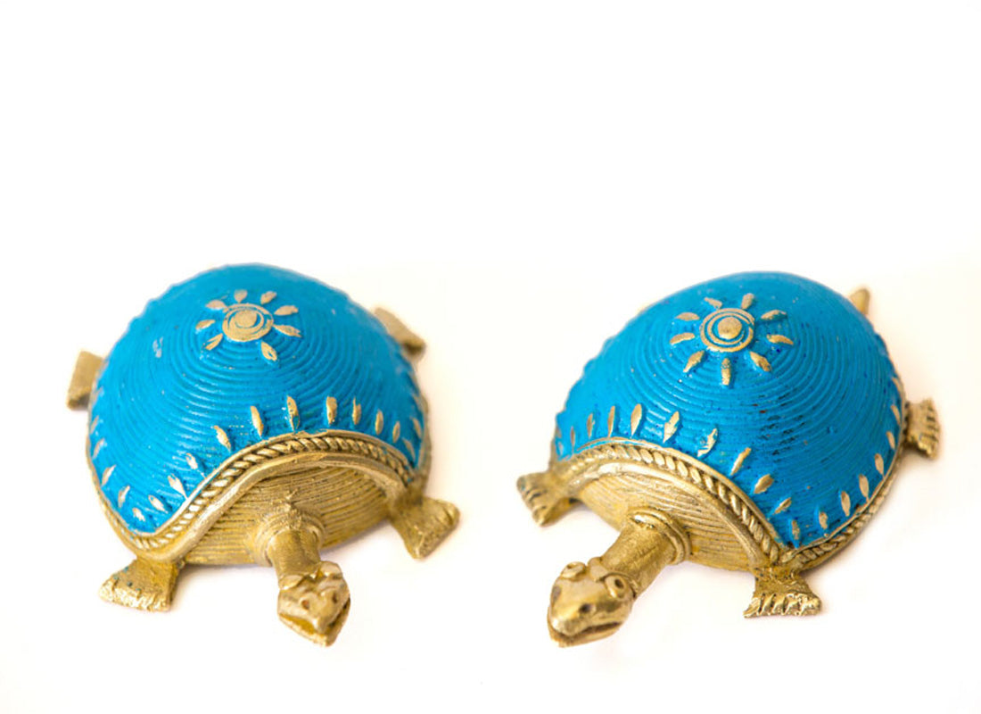 Dhokra Art Tortoise Set- Sky Blue