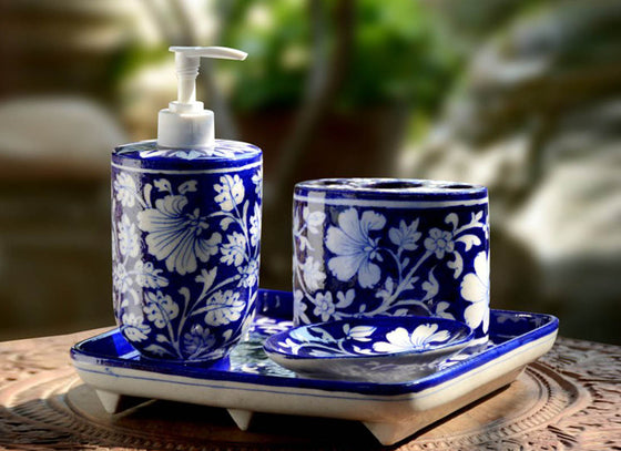 Jaipur Blue Pottery Bathroom Accessory Set