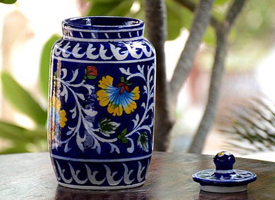 Decorative Blue Pottery Sugar Jar