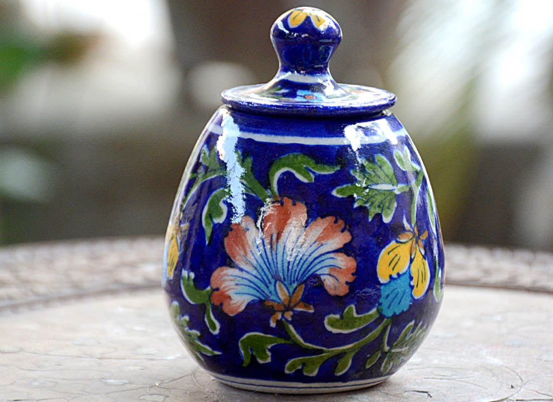 Hand-painted Floral Design Round Jar