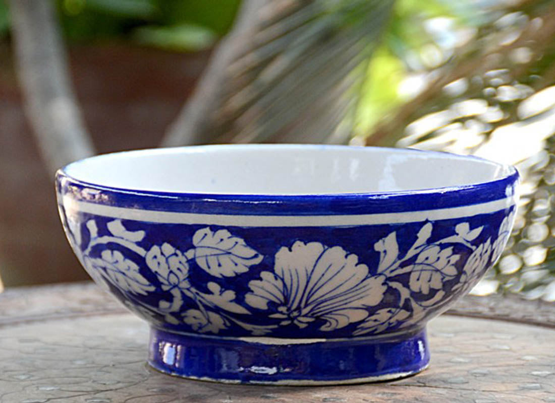 Hand-painted Ethnic Design Fruit Serving Bowl