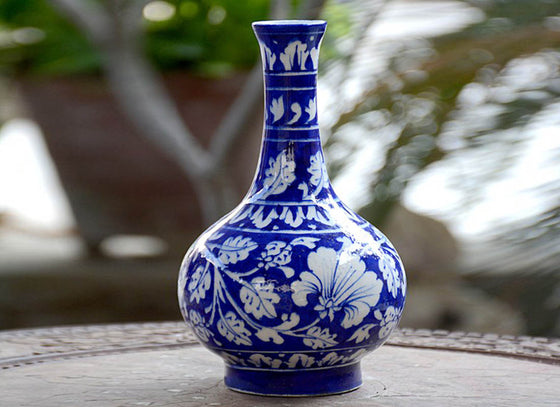 Blue and White Floral Design Blue Pottery Vase