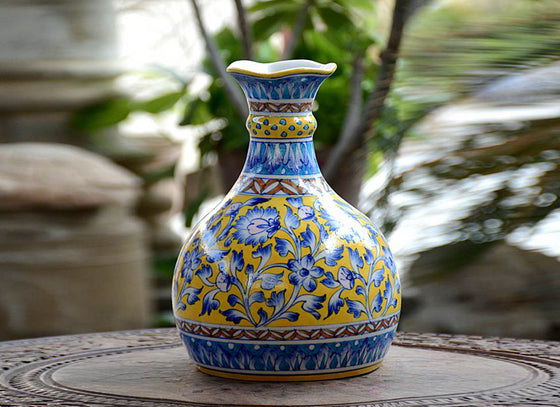 Vintage Style Blue Pottery Pitcher Vase