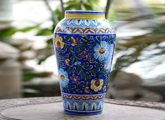 Traditional Blue Pottery Art Tall Vase Décor