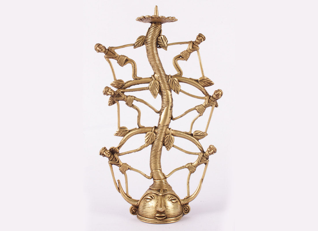 Dhokra Art Man Candle Stand