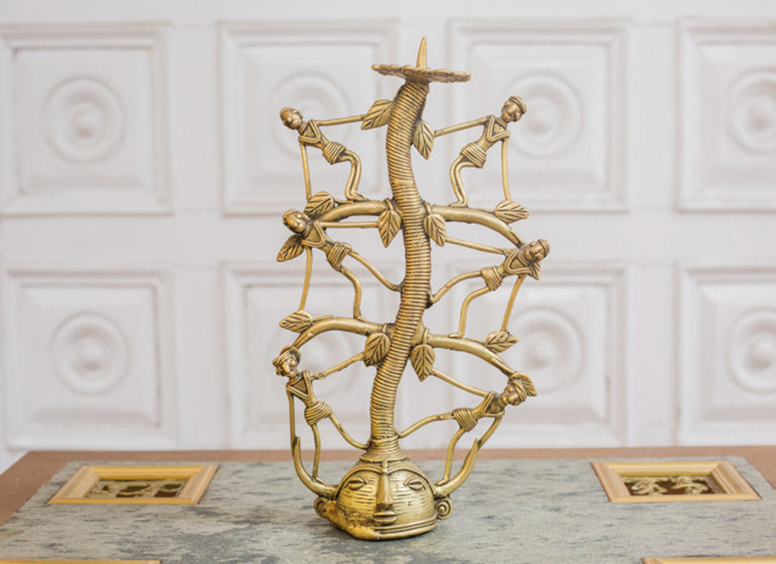 Exclusive Dhokra Art Man Candle Stand