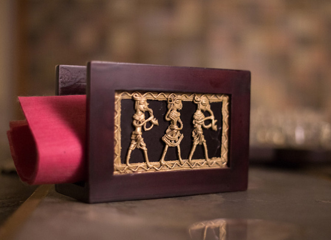 Brown Dhokra Art Napkin Holder