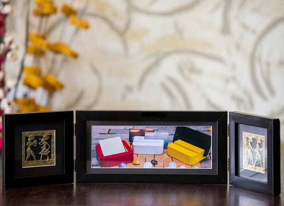 Wooden Photo Frame Two Folds Black