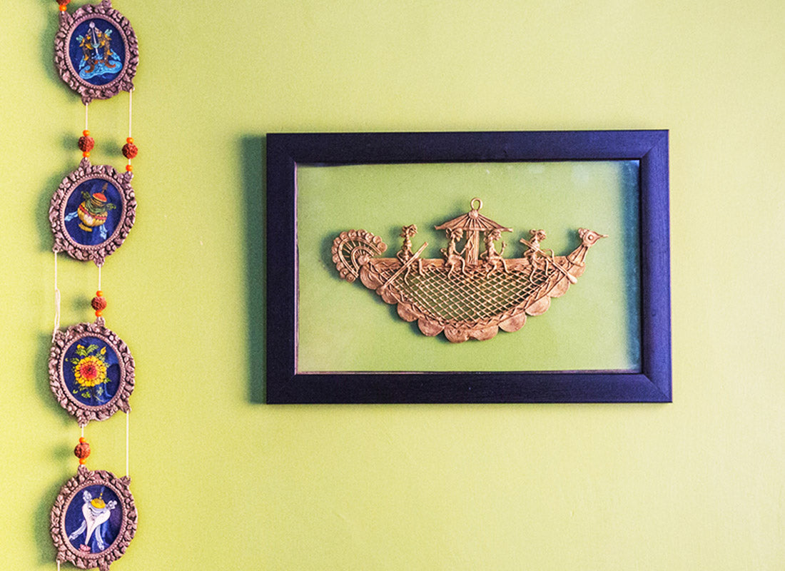 Naav Jaali In Wooden Frame Laminated In Glass Wall Hanging