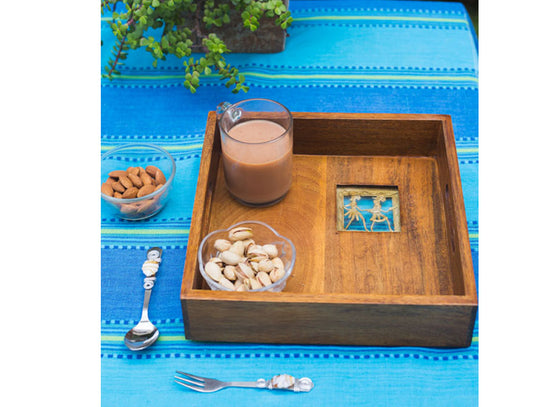 Big Wooden Serving Tray  With Handle Slots