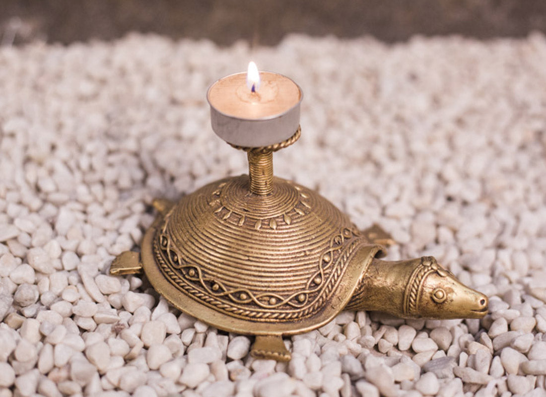 Dhokra Art Tortoise Shaped Candle Stand
