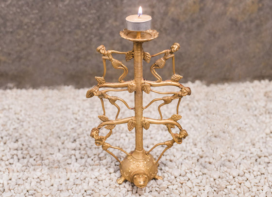 Dhokra Art Tortoise Candle Stand