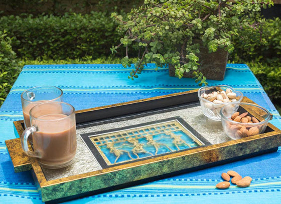 Wooden Serving Tray With Gold Leafing