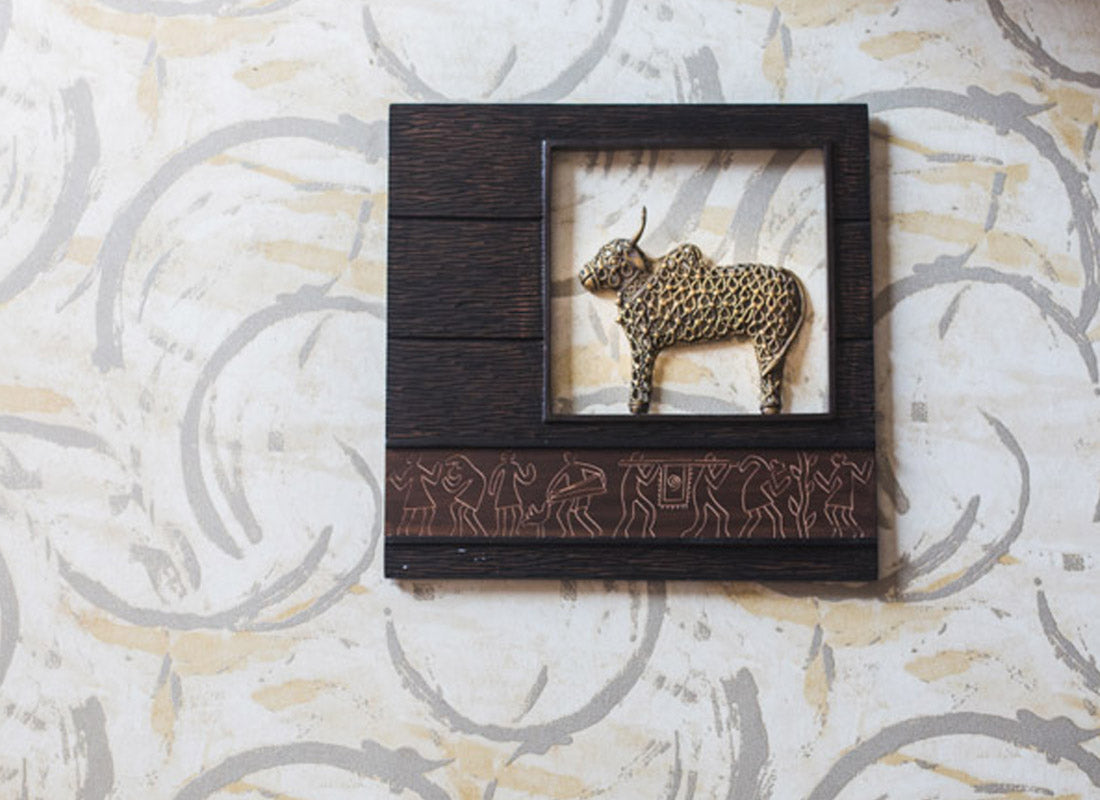 Jaali Nandi In Wooden Frame