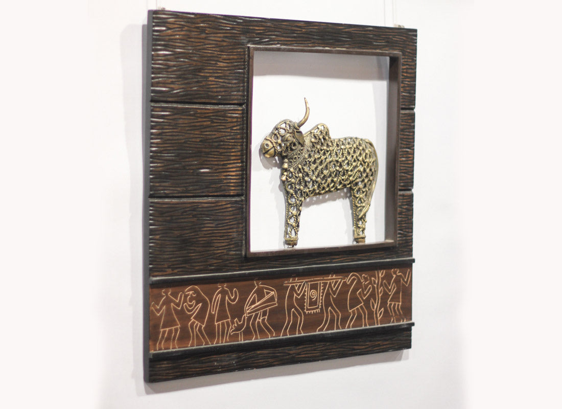 Wall Hanging Jaali Nandi In Wooden Frame