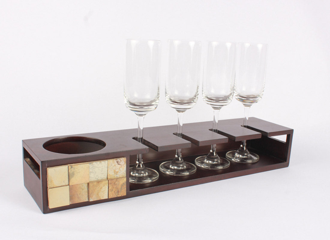 Decorative Champagne Tray With Glasses
