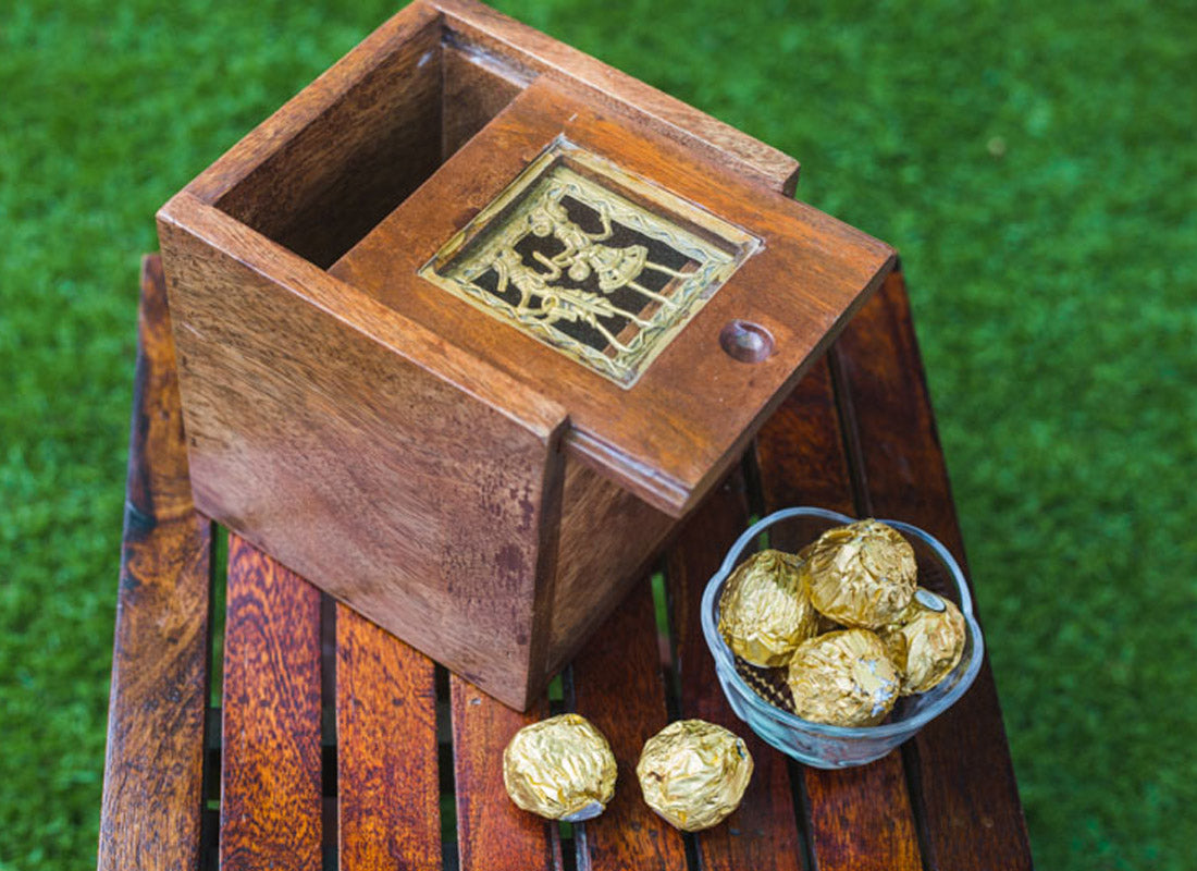 Handcrafted Wooden Slider Box