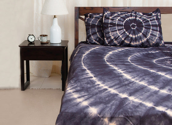 navy blue tie-n-dye cotton bedsheet