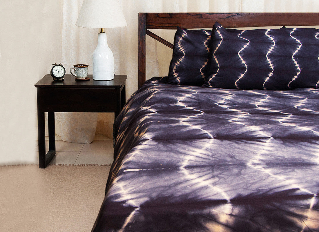 Abstract Print Tie N Dye Cotton Bed Sheet Set