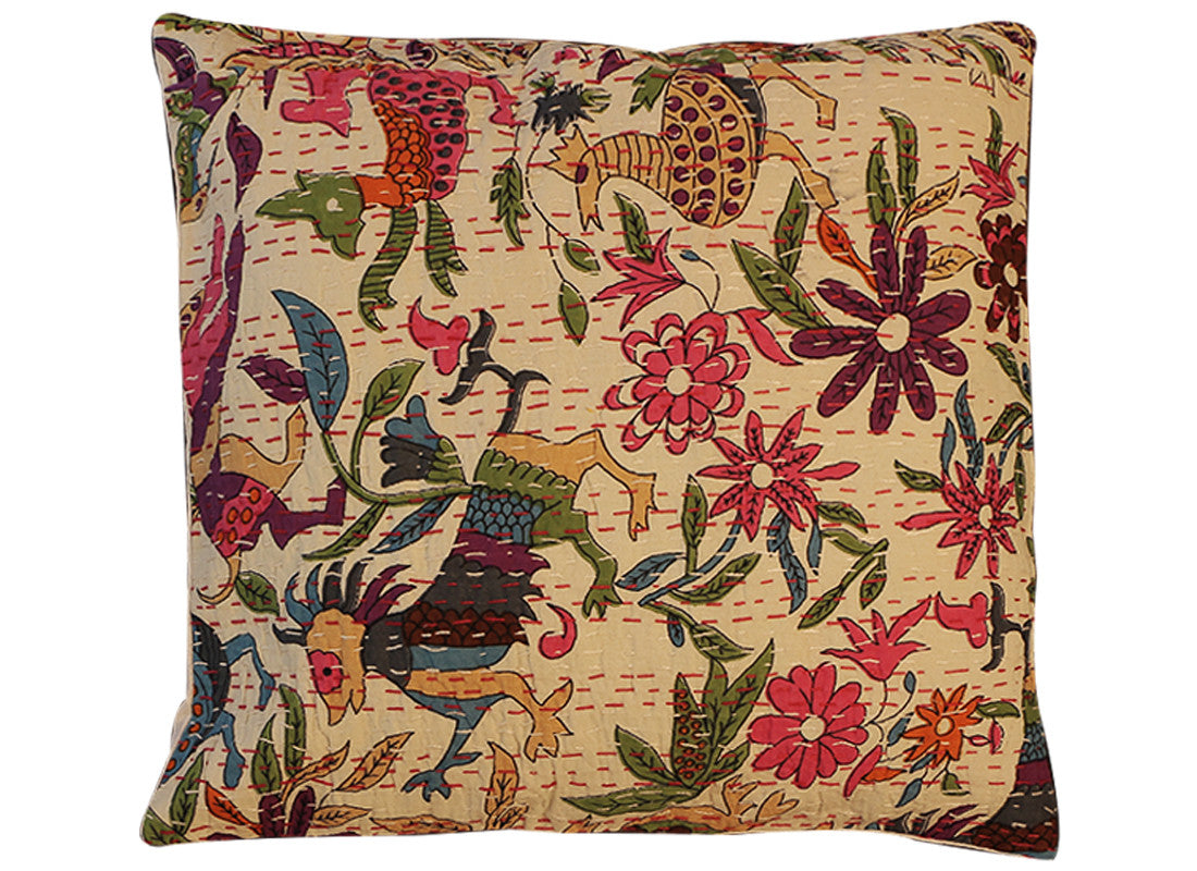 Bird print kantha cushion covers