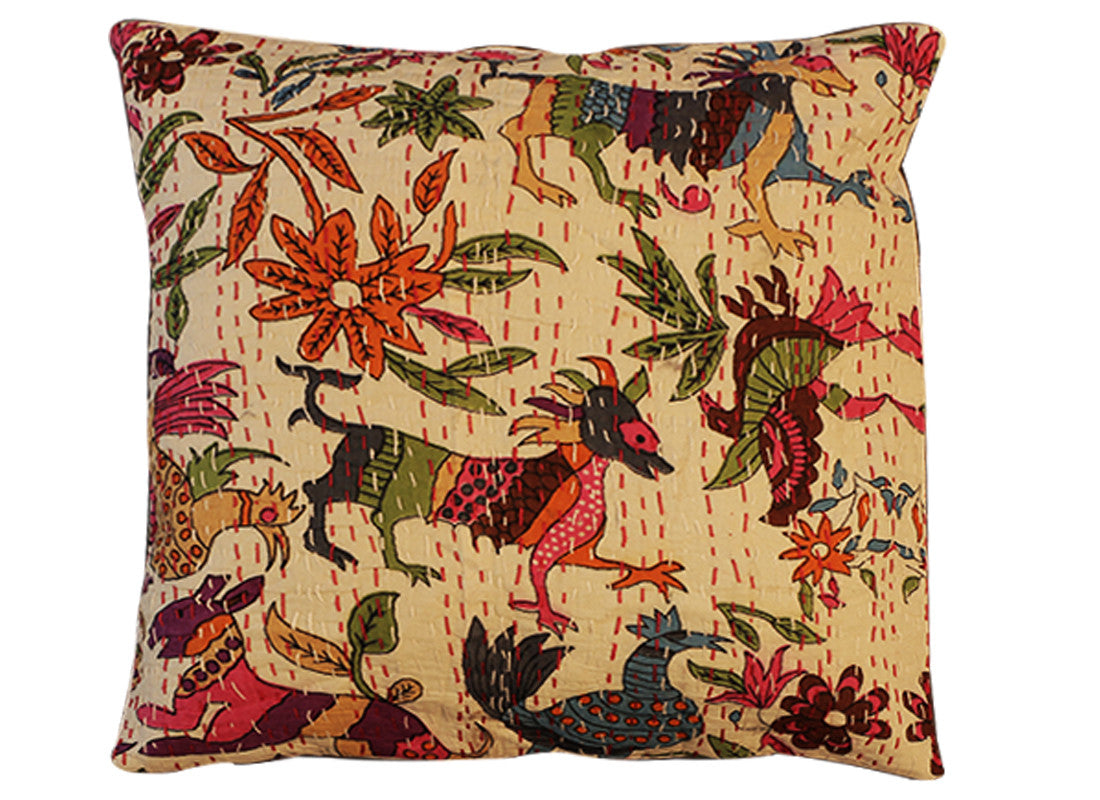 Bird print kantha cushion covers comes