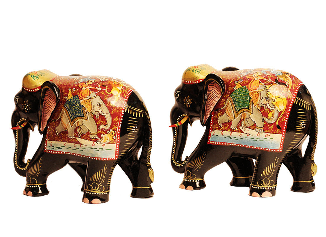 Black Marble Elephant Decor