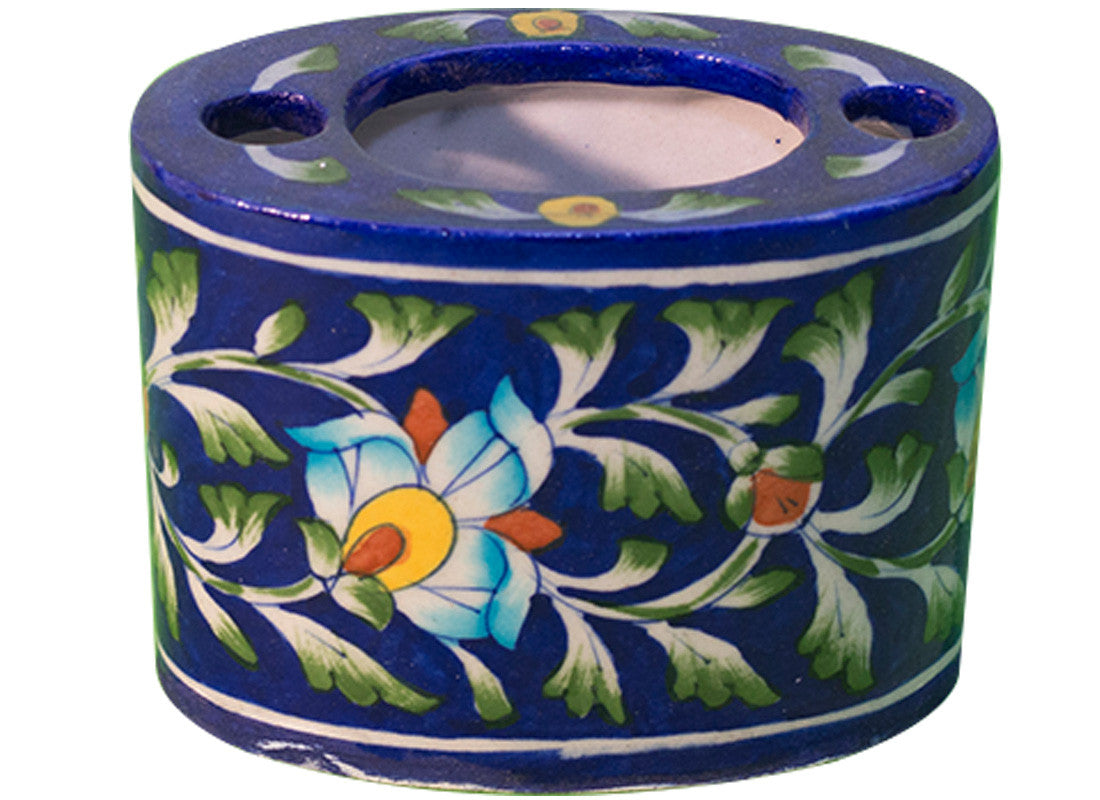 Blue Floral Tooth Brush Holder