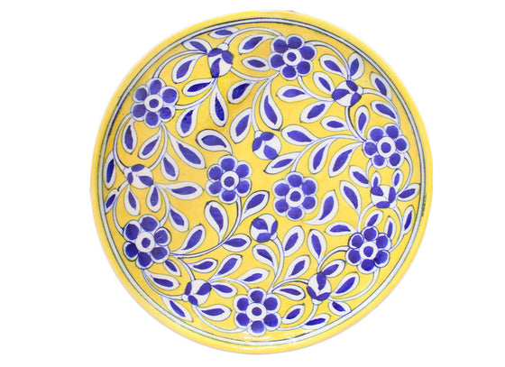 Blue and Yellow Pottery Plates