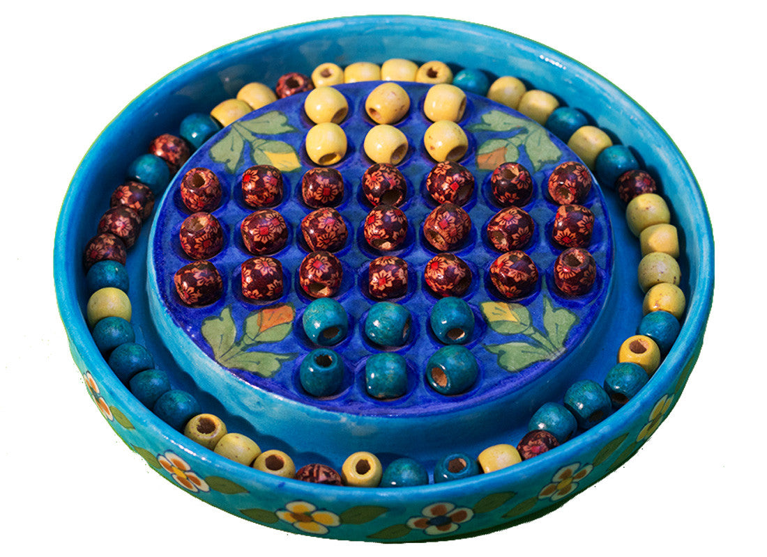 Blue pottery chinese checker game