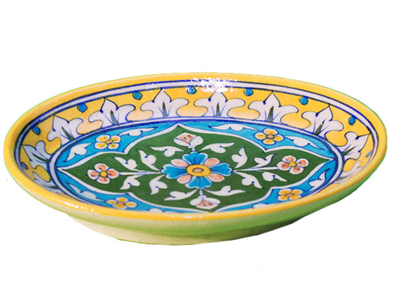 Blue pottery yellow serving tray