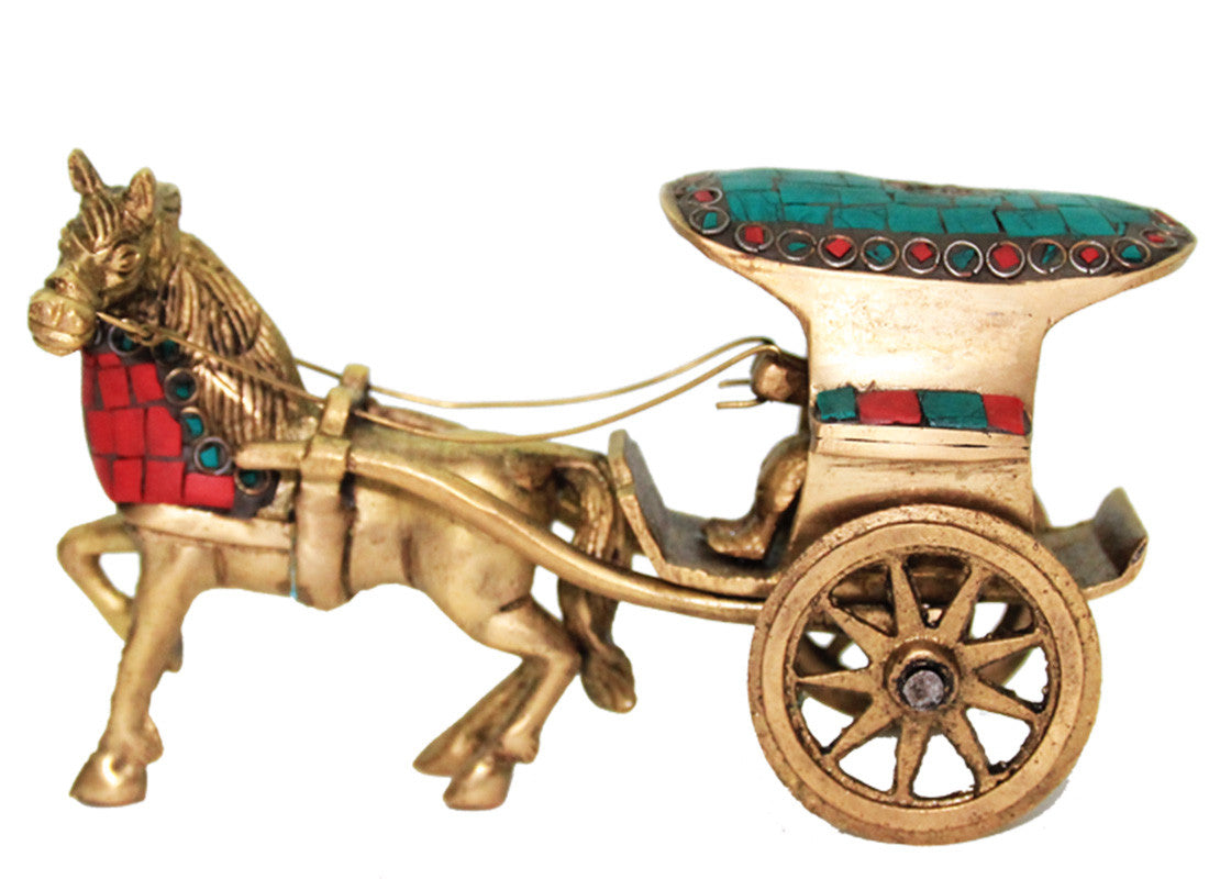 Shop Brass Horse Cart Showpiece Online Horse Showpiece Home