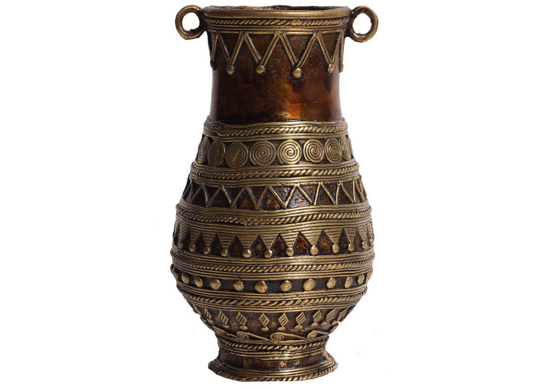 Buy brass metal dhokra flower vase at lowest rates on craftedindia dhokra art object decorative brass flower vase reviewsmspy