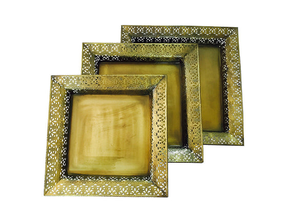 Brass finish square trays