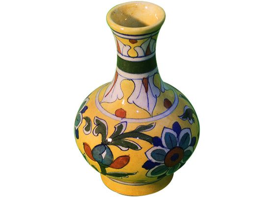 Bright yellow decorative flower vase