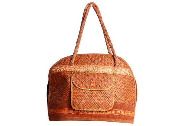 Brown ethnic ladies hand woven bag